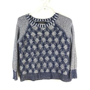 Banana Republic Blue Knit 3D Pattern Sweater